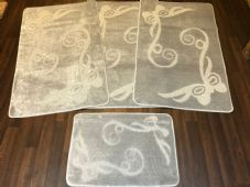 ROMANY GYPSY WASHABLE FULL SET OF MATS/RUGS 75X125CM SIZE NON SLIP SILVER-GREY